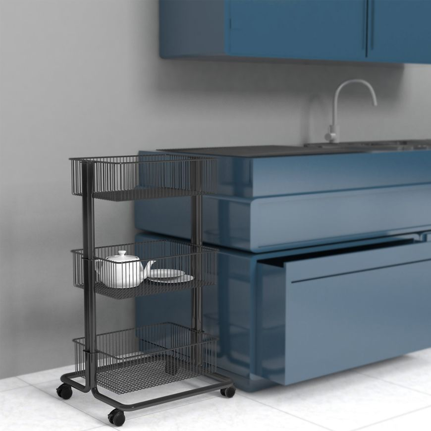 3 Tier Rolling Storage Cart Store Fixtures Manufacturing Greenjet