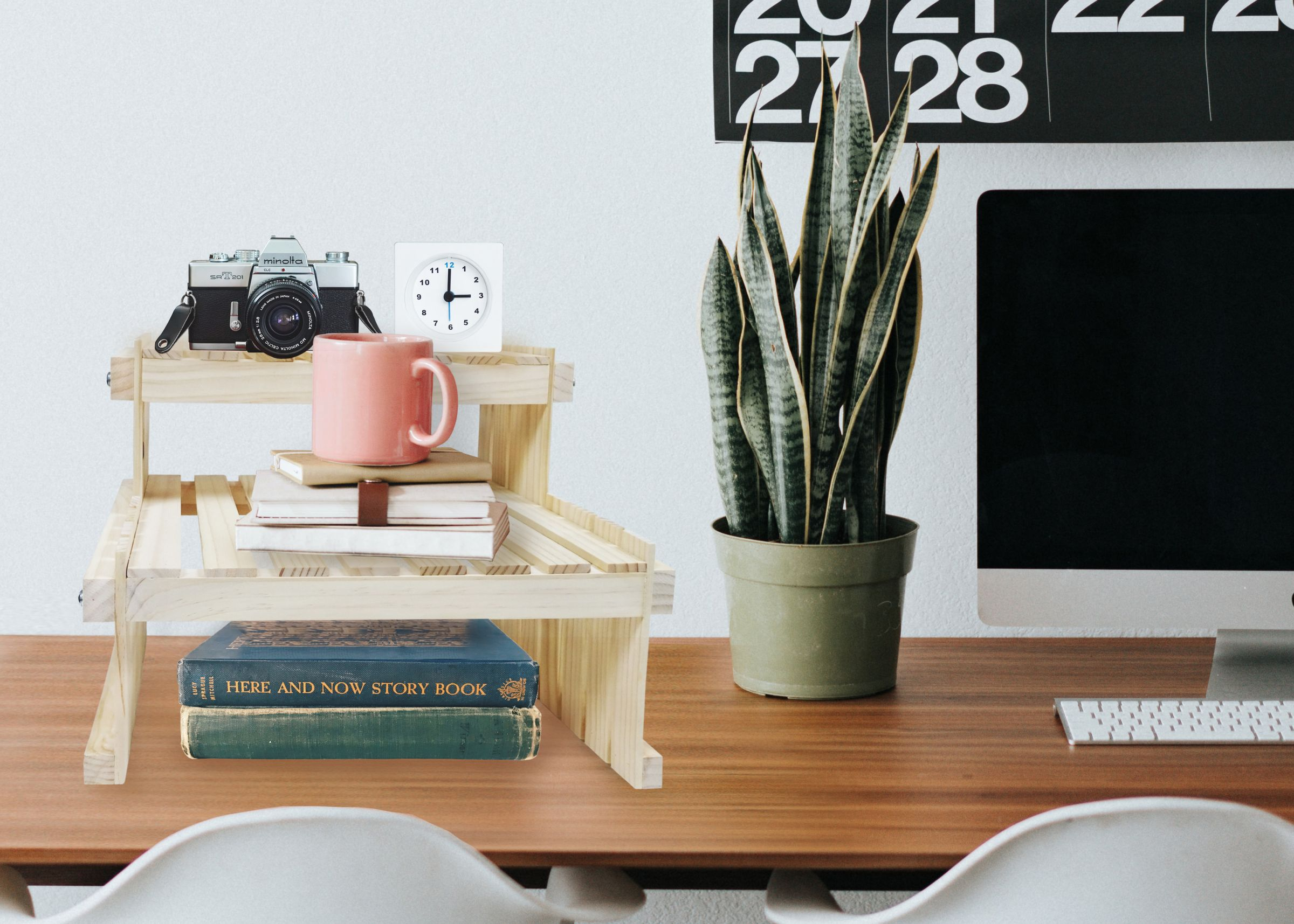 Wood Desktop Book Storage Stand